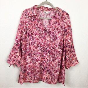JM Collection button down blouse
